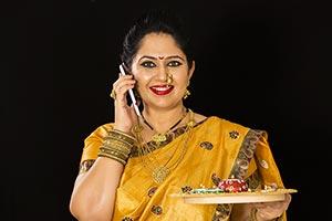 Marathi Woman Talking Cellphone Diwali Festivals