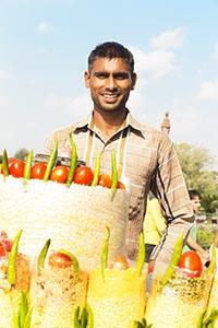 Indian Street Vendor Man Selling Bhelpuri