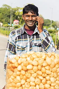 Vendor Hawker Selling Golgappe Talking Phone