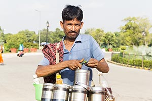 Man Selling Bhelpuri Hawker Vendor Roadside