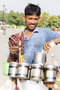 Man Vendor Selling Bhelpuri Hawker Small Business