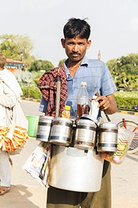 Indian Man Vendor Selling Bhelpuri Small Business