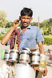 Man Vendor Selling Bhelpuri Talking Phone