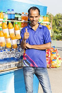 Hawker Man Colddrink Selling Roadside Thumbsup