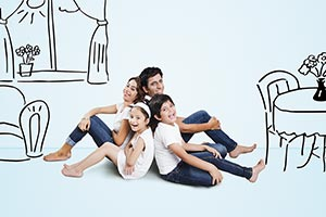 Indian Family Sitting Home Drawing illustration
