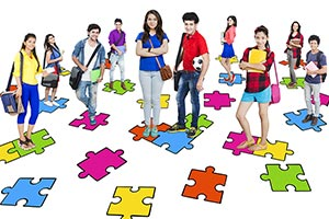 Group College Standing Jigsaw Puzzle Digital