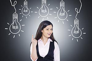 Indian Businesswoman Light Bulb Ponting Illustrati