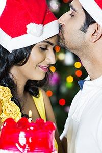 Couple Christmas Birthday Kissing