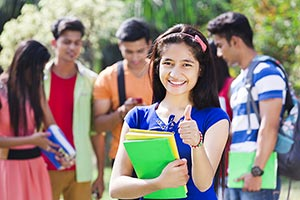 Teenage Girl College Students Thumbsup Success