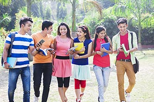 Indian College Students Walking Campus
