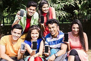Group College Friends Students Showing Cellphone