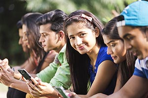 Indian Group College Friends Messaging Cellphone