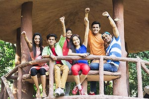 Group College Friends Park Cheering Success