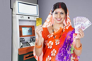 Rural Woman Showing Money Credit Card Atm