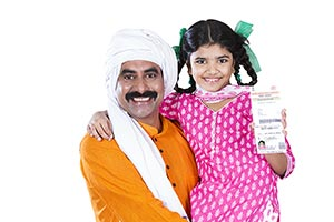 Rural Farmer Father Child Girl Aadhaar Card
