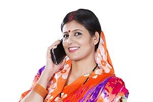 Rural Woman Villager Talking Cellphone