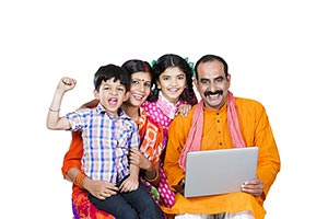 Rural Family Kids Laptop Education Cheering