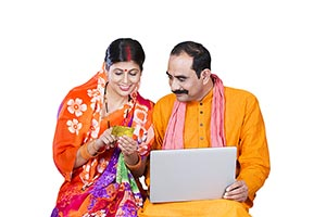 Rural Couple Shopping Online Creditcard Laptop