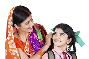 Indian Rural Mother Daughter School Education