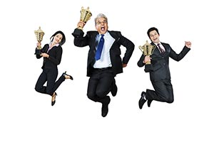 Business Team Promotion Victory Trophy Jumping Cel