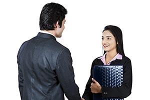 Business Man Woman Secretary Handshake Welcome
