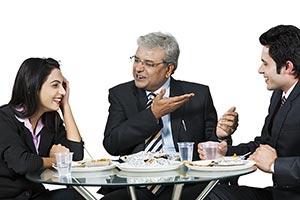 Business Colleague Lunch Break Talking Gossip