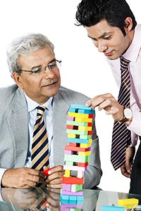 Businessman Colleague Building Blocks Growth Plann