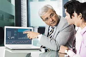 Businessman Colleague Teamwork Laptop Explaining M