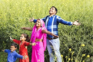 Indian Rural Family Field Outstretched Anticipatio