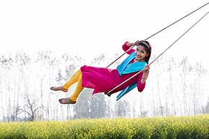 Rural Young Girl Playing Swing Spring Ropes
