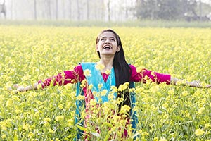 Teenage Rural Girl Field Arms Outstretched Fun