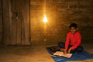 Rural Kid Boy Sitting Home Writing Notebook Study