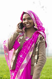 Happy Rural Lady Village Talking Mobile Phone