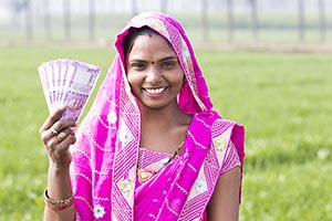 Rural Farmer Woman Showing Money Saving