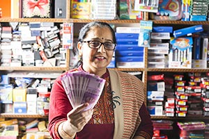Stationery Shop Shopkeeper Woman Showing Money