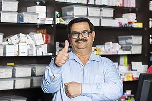 Indian Chemists Shop Shopkeeper Man Thumbsup