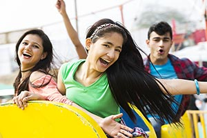 Teenagers Friends Enjoy Fair Rides Surajkund