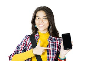 College Student Young Woman Smartphone Showing Poi