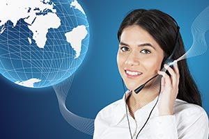 Woman Call Center digital Telecaller Headset