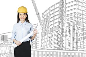Building Business woman Engineer Illustration Pain