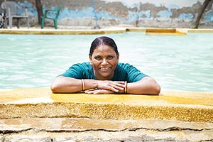 Senior Swimming Pool Waterpark Woman Ledge Relaxed