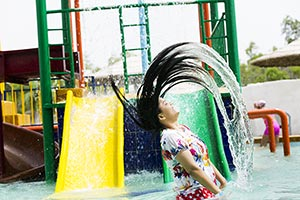 Young Woman Water Splashes Swimming Pool Waterpark