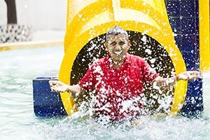 Senior Man Bathing Slide Waterpark Swimming Pool F