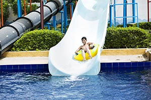 Little Boy Sliding Waterpark Swimming Pool Fun
