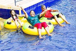 Grandparents Granddaughter Waterpark Swimming Pool
