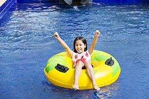 Indian Little Girl Hotel Swimming Pool Fun