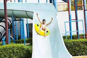 Little Boy Sliding Waterpark Swimming Pool Fun