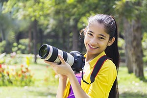 Indian Teeanger Girl Cameraman Park Photography