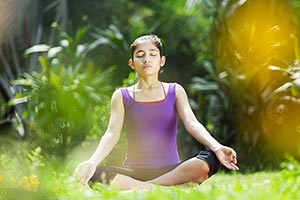 Indian Young Girl Yoga Park Meditation Exercise