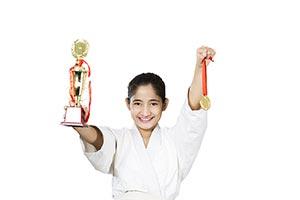 Teenager girl Judo Karate trophy Medal Victory